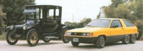 Showing electric power was nothing new in the automotive world, Briggs and Stratton posed its Hybrid concept car with an early-1900s electric car.