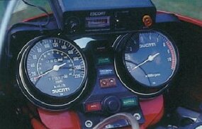 The tachometer indicates a redline of 8000 rpm --                              quite high for a large-displacement twin.