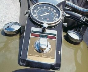 Harley moved the choke knob to a more convenient location on the instrument panel, where the owner's name could be engraved on a special plaque.