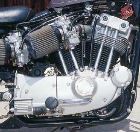 The XR's twin carbs on the right fed into the back of both cylinders.