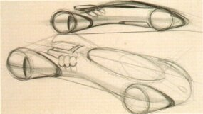 Rough in-house sketches eventually evolved into a final Wildcat concept car design by GM stylists Dave Rand and Bill Porter.