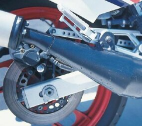 The exhaust system's bulbous expansion chambers helped produce more power.