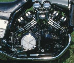 The mighty V-Max featured a 1200-cc four-valve V-four with variable intake runners and 145 horsepower.
