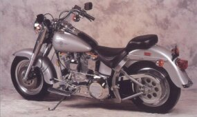 The Harley-Davidson FLSTF Fat Boy was painted in an elegant silver and yellow color scheme.