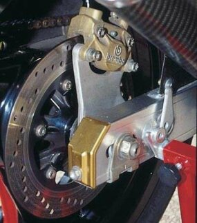 Massive Brembo floating disc brakes brought huge doses of stopping power.