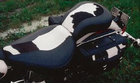 Bovine trim detailed the tank top, and was also found on the Cow Glide's seat and saddlebags.