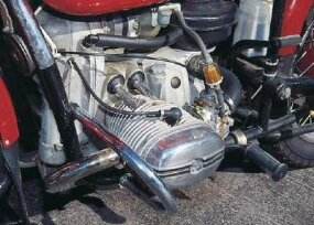 The 650-cc, overhead-valve, horizontally opposed twin puts out about 35 horsepower, and closely resembles a BMW engine design -- of the 1940s.