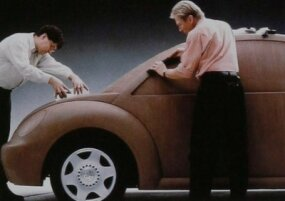 The 1998 Volkswagen New Beetle's shape was settled early in the design process. Clay models looked almost exactly like the eventual production version.