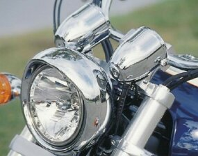 Forks, handlebars, bullet-shaped instruments, and headlight were slathered in chrome.