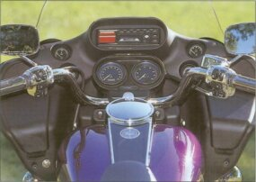The 2001 Harley-Davidson FLTR Road Glide featured a cut-down windshield.