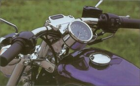The 2002 Harley-Davidson XL-1200C Sportster features a low-mounted speedometer.