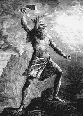 Wood engraving of Thor