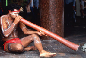 An Aboriginal man plays a didgeridoo in Sydney, Australia.