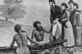 Aborigines offer a group of English visitors a ride in their boat, circa 1870. Not all relations between the two groups were this friendly.