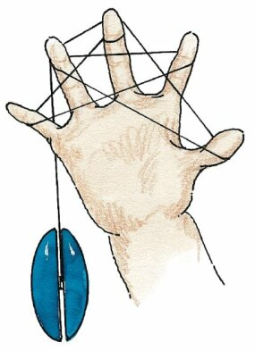 Loop the string around your thumb and display the star.