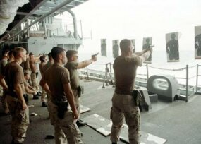 Firing practice onboard the USS Independence