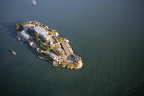 An aerial view of Alcatraz Island