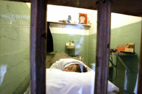 A re-creation of the cell once occupied by Alcatraz escapee Frank Morris