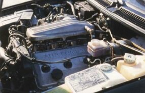 A view under the hood of the Alfa Romeo GTV-6.