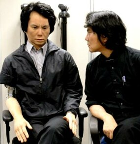 Professor Hiroshi Ishiguro (right) and Geminoid HI-1