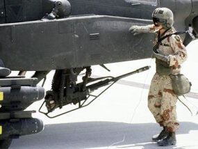 The M-230A1 30-mm automatic cannon on an AH-64A Apache