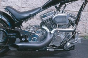"This 300 VM Appaloosa is fitted with a 111-cubic-inch S&S engineer with special air cleaner and 2-into-1 exhaust, but for those ""do-it-your-selfers"" starting with a chassis kit, the frame is designed to hold any Harley-Davidson V-twin."