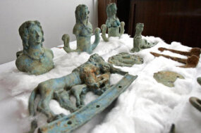 Macedonian police recovered these Bronze Age sculptures from artifact smugglers. Authorities believe Macedonia has lost more than a million archaeological artifacts to Europe's black markets since 1991.