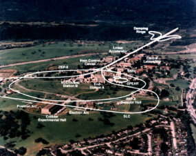 Aerial view of the SLAC linear accelerator: The linac is underground and traced in white.