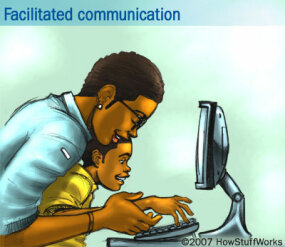In facilitated communication, a facilitator may hold the arm of an autistic child and helps him type on a computer keyboard to assist in communication.