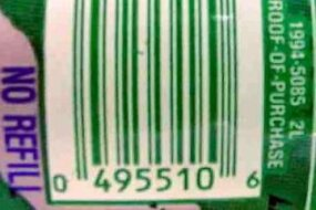 Zero-suppressed UPC code on a bottle of Sprite