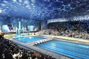 An artist's rendition of the National Aquatics Center shows the building's soap-bubble skin.