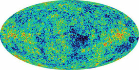 This image of the cosmic microwave background radiation was taken by the Wilkinson Microwave Anisotropy Probe.