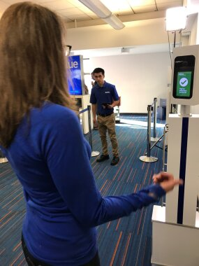 The writer gets cleared after testing out JetBlue's new biometric scanning system for travelers exiting the U.S.