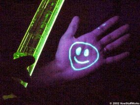 "Ordinary highlighters work well as ""black light pens."" Under the black light, the fluorescent ink glows!"
