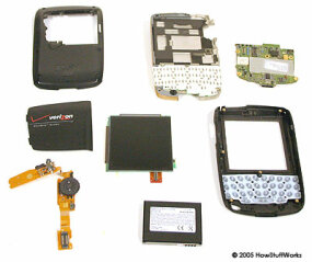 The internal parts of the BlackBerry.