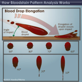 Blood droplets elongate