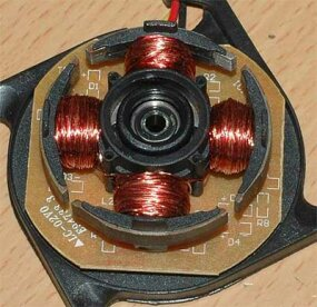 The poles on the stator of a two-phase BLDC motor