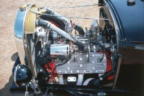 The Bud Bryan '29 Roadster's engine is a 276-cid 1948 Mercury flathead V-8.
