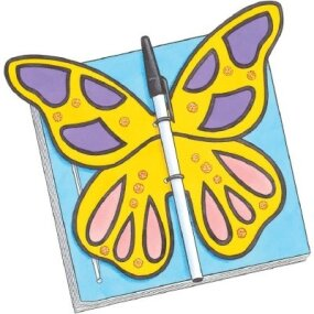 Glue the butterfly body to the cover and leave the wings free to fly.
