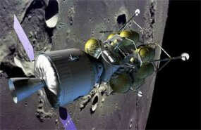 Crew vehicle and lander in lunar orbit
