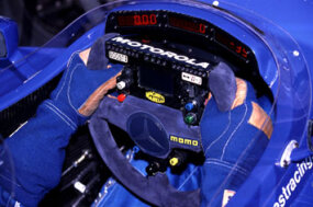 The steering wheel in the cockpit