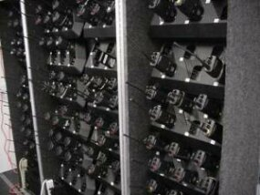 Radios are kept in a tractor-trailer where they can be recharged and distributed.