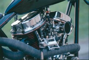 "Built by Accurate Engineering, the engine is fashioned after a Harley-Davidson ""Panhead"" V-twin of the 1950s, which got the nickname because its valve covers looked like upside-down roasting pans."