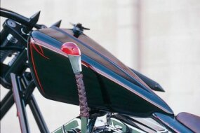 A custom-made shift knob on the Chopper, Baby completes the look of this vintage-inspired bike.