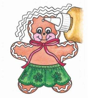 Glue the hair onto the ornament.