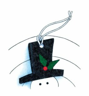 Punch a hole in the hat and attach a cord to hang your snowman on the tree!