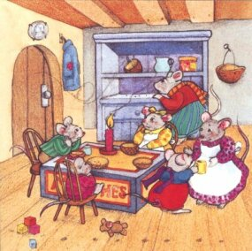 After the big house was sold, Walter Whiskers, his wife, and his poor little mousekins were left with nothing to eat.