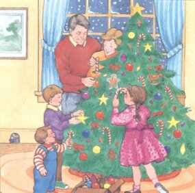 The new owners of the big house decorate the tree for a fun-filled Christmas celebration.