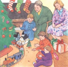 On Christmas Day, the family was happy to discover that the Christmas mouse had been there.