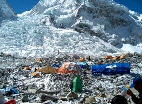 Base Camp with the Khumbu Icefall in the background.